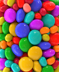 Candy multicolored background macro, 3d rendering