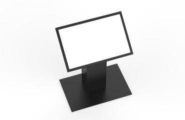 Kiosk information screen on isolated white background, 3d illustrator