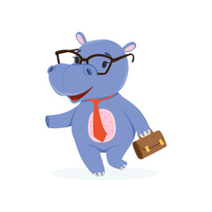 Funny baby hippo businessman character in glasses with briefcase, cute behemoth African animal vector Illustration