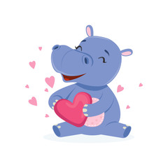 Funny happy baby hippo character sitting on the floor and holding pink heart, cute behemoth African animal vector Illustration