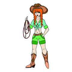 Redhead cowgirl with lasso. Vector illustration. Isolated on whi