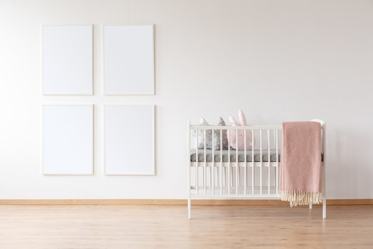 White crib and poster mockups