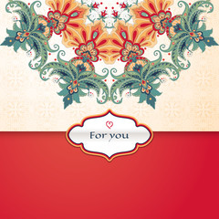 Vector envelope for invitations or congratulations. Beautiful round floral pattern in vintage style. Simple delicate ornament. Place for your text.