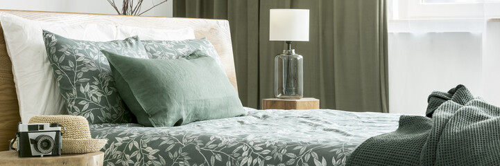 Close-up of floral bedsheets