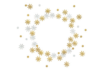 Gold and silver glitter flower paper cut on white background - isolated