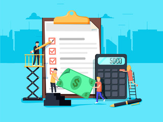 Payroll. Expenses, salary calculation concept. Flat design graphic elements, flat icons set. Premium quality.