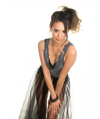 Beautiful woman wearing edm dance music or festival style attire