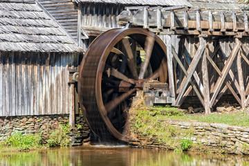 Water Wheel On Mabry Mill In Virginia