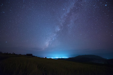 Milky way over landscape view at night.