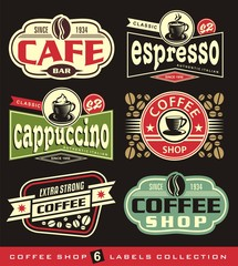 Coffee labels and stickers collection. Signs and symbols set for coffee shop, cafe bar and coffee house.