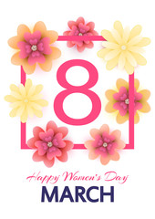 8 March. Mothers, Women's day greeting card with blooming red, y