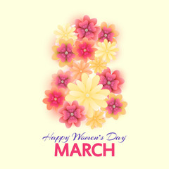 8 March. Mothers, Women's day greeting card with isolated bloomi