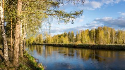весенний пейзаж на Уральской реке, Россия, Урал