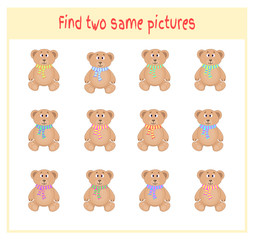 Cartoon Vector Illustration of Finding Two Exactly the Same Pictures Educational Activity for Preschool Children with bears