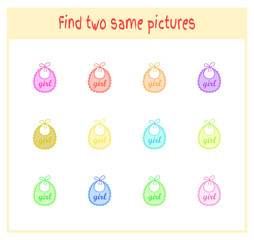 Cartoon Vector Illustration of Finding Two Exactly the Same Pictures Educational Activity for Preschool Children with baby bibs