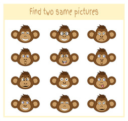 Cartoon Vector Illustration of Finding Two Exactly the Same Pictures Educational Activity for Preschool Children with monkey
