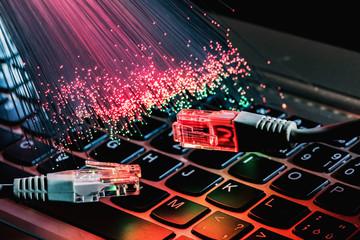Fiber optics lights abstract background, fiber optical background Wall mural
