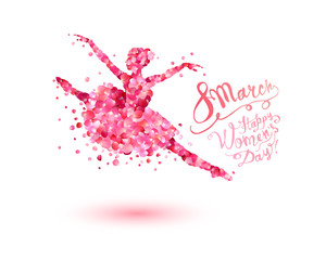 8 march. Happy Women's Day! Dancing woman of rose petals