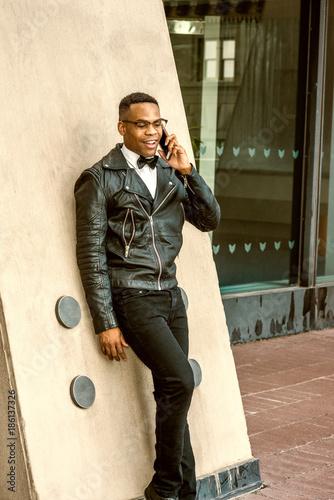 Man Urban Autumn Spring Fashion Wearing Black Leather Jacket White