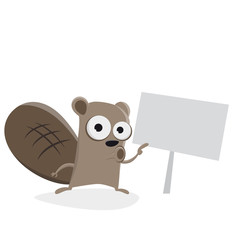funny beaver pointing at a sign clipart