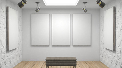 Empty gallery with blank canvasand chair mock up