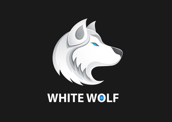 White wolf logo vector illustration