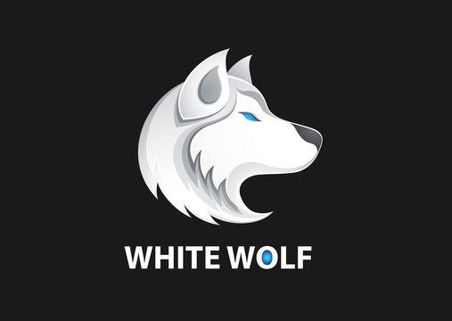 White wolf logo vector illustration