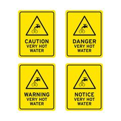 Danger very hot water sign set