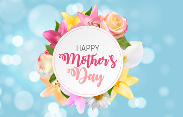 Happy Mother`s Day Cute Background with Flowers. Vector Illustra