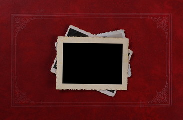 Blank old group photo on vintage red luxury album background