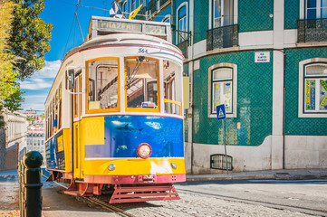Yellow tram 28 on streets of Lisbon, Portugal Wall mural