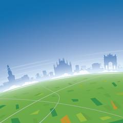 Milan Skyline Aerial View