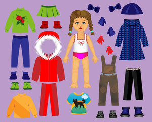Aluminium Prints Paper doll clothes and set for play and creativity. Part 3. Winter
