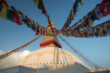 Boudhanath - the Eyes of Boudhanath stupa with prayer flags