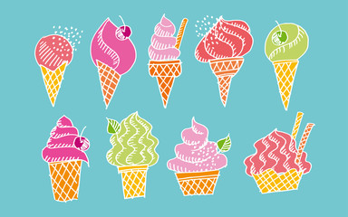 Hand drawn doodle set of assorted ice cream types. Waffle cone, cup ice cream, popsicle, sundae. Sketch style vector illustration for cafe menu, card, birthday card decoration.