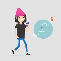 Walking pedestrian. Young female character using an electronic map to navigate in the city. GPS technology. Flat editable vector illustration, clip art