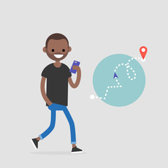Walking pedestrian. Young black character using an electronic map to navigate in the city. GPS technology. Flat editable vector illustration, clip art
