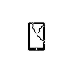 Cracked glass phone vector icon