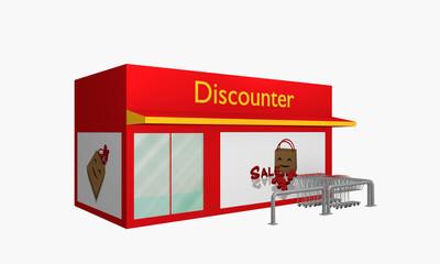 Discounter mit Sale-Plakat und Einkaufswagen aus Seitenansicht.