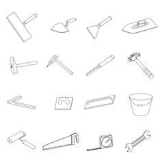Working tools 3D icons set. Different repair equipment. Vector instrumets collection.