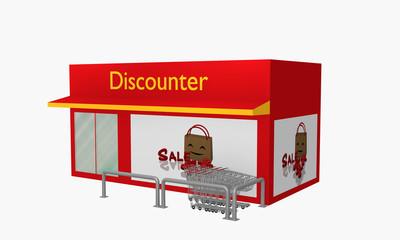 Discounter mit Sale-Plakat und Einkaufswagen.