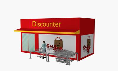 Discounter mit Sale-Plakat und Einkaufswagen mit 3d-Person.