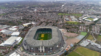 London, UK - DECEMBER 20 : Twickenham Rugby Stadium on December 20, 2017. Flying by Aerial View Iconic Twickenham Stadium in London and the Home of English Rugby Union in England UK