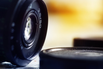 Vintage camera lens close-up, old camera lens
