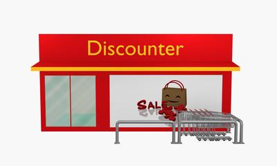 Discounter mit Sale-Plakat und Einkaufswagen aus vorderansicht.
