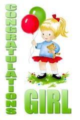 Cute Cartoon Girl with balloons