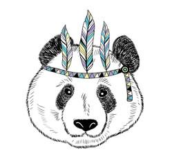 Cute panda isolated on white background.