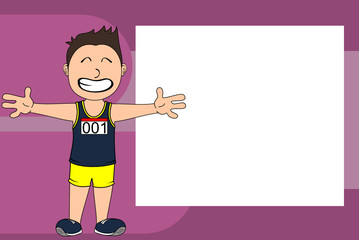sporty kid runner cartoon expression picture frame background in vector format