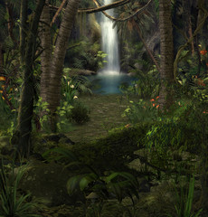 Enchanting Jungle Waterfall Scenery