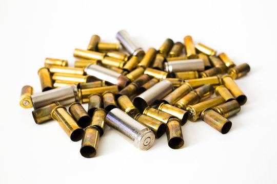 Bullet shells on a white background